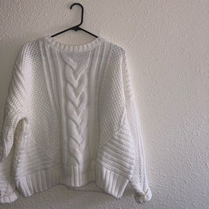 Cable Knit Creme/White Sweater
